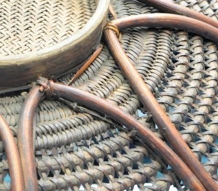 提耳:以縫紮法固定於底部和藤身上緣