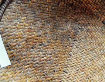 立面:斜紋編,壓二挑二加條使藤身漸寬