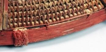 收邊:以打結縫綴法加藤條於上緣