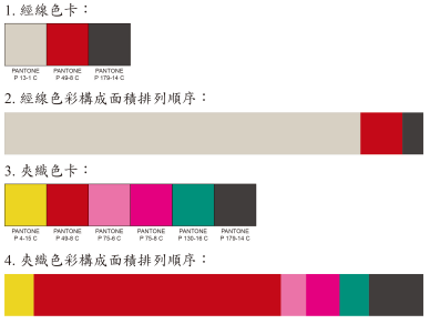經線3色,夾織緯線6色,紅色使用占最大面積