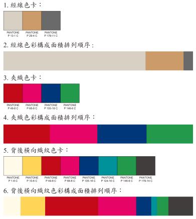 經線4色,夾織緯線4色平均,綴織多4色,紅、桃色使用最多