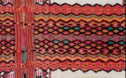 緯紗使用8色,用在兩側與背面。橘、紅色系最多