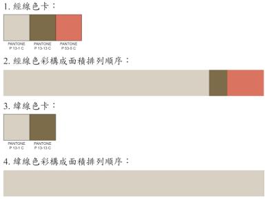 經線3色,緯線2色。2.4.色彩購成面積圖長10公分寬1公分。