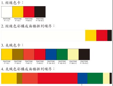 經線4色,夾織緯線8色,以兩個紅色系為主,紅色使用最多,採用螢光色