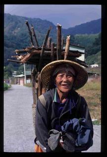 以竹蔞背負材薪婦女