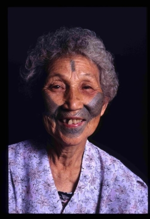Women with facial tattoo