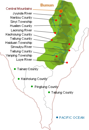 Bunun distribution map