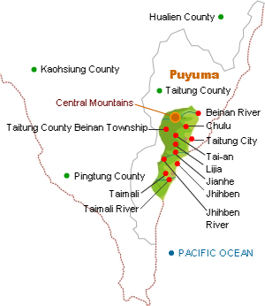 Puyuma distribution map