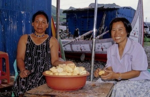 Yami people processing sweet potatoes