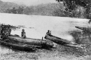 The picture of a Thao canoe made with camphor wood, 