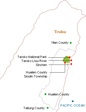 Truku distribution map