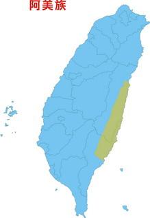 阿美族在台灣分佈圖