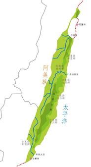 阿美族在台灣東部分佈圖
