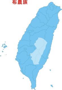 布農族在台灣分佈圖