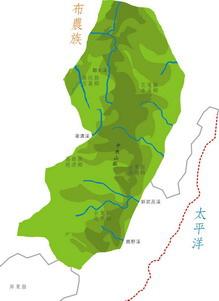 布農族在南投、花蓮、高雄、台東縣分佈圖