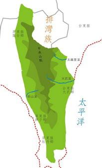 排灣族在台灣南部分佈圖