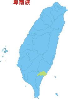 卑南族於台灣分佈圖