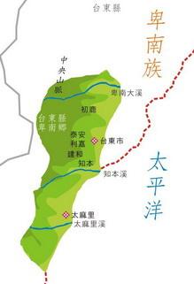 卑南族於台灣東部分佈圖