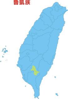 魯凱族在台灣分佈圖