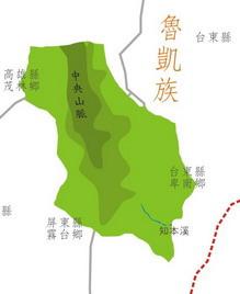 魯凱族在台東、屏東、高雄縣分佈圖