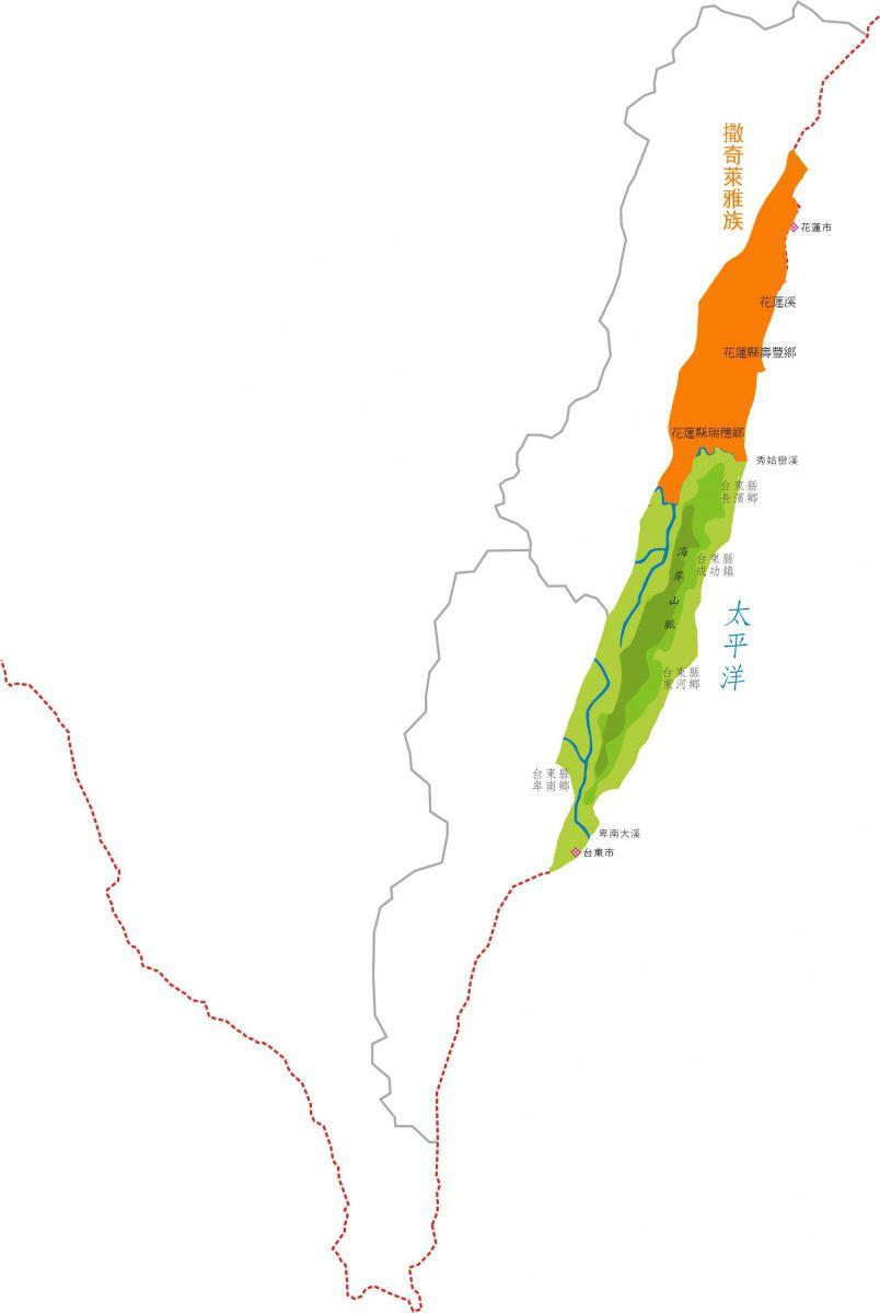 撒奇萊雅族在花蓮縣分佈圖