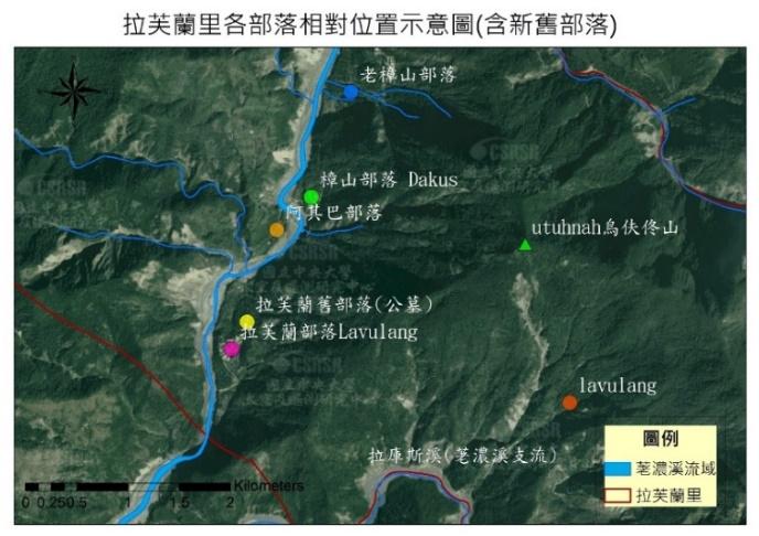 拉芙蘭里各部落相對位置示意圖