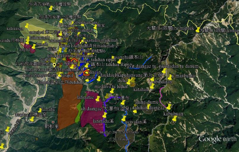 利用Google Earth數化傳領調查之點線面資料