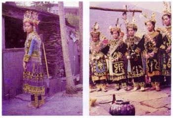 著魯凱族傳統服飾的魯凱族女性